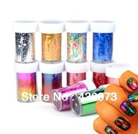 New 10 Rolls Color 20 Styles Available Nail Art Transfer Foils Sticker Adhesive Acrylic Gel Tips Decoration Aluminum +Bottle