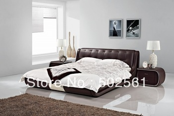 2014 new modern genuine leather leisure bed include salt bedroom furniture king queen double