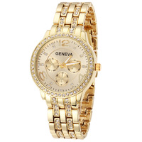 Drop&Free shipping,Fashion women watches ladies Geneva wristwatches bracelet watches women alloy band watches