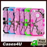 High Duty PINK Tree Pattern PC+ Silicon High Impact Combo Case For iPhone 4 4s + 100 pcs/lot DHL Free Shipping