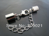Finding - 100Sets Silver Tone Round Leather Cord Ends Cap With Lobster Clasp Buckle and Extender ( Inside 5mm Diameter )