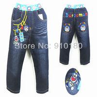 New arrivals 5pcs/lot Baby cartoon Doraemon denim jeans pants children girls boys fashion casual jeans kids trousers