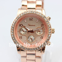 Crazy on sale ,5colors Women Ladies GENEVA stainless steel watch fashion metel watch ,Drop&Free shipping