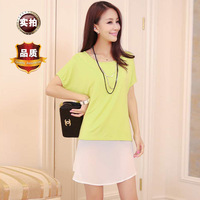 Summer 2013h ol sweet o-neck short-sleeve twinset chiffon one-piece dress a6161