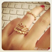 2013 Free Shiping Beads Series Zircon Rhombus Ring Opening Circusy Tiff Joint Pinky Ring