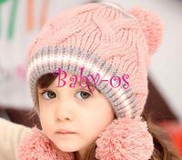 2013 NEW Winter baby earflap,Pilot cap, children hats boys caps Korean Baby Love Ball Girls/Boys Wool knit sweater Cap Hat