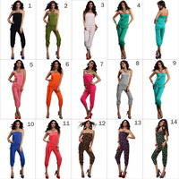 Promotion ! 14 Colors 2013 New Fashion Women Sexy Strapless Overall Jumpsuits Rompers With Belt White Black Pink Navy Grey
