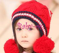 2013 NEW Winter baby earflap,Pilot cap, children hats boys caps, Korean Baby Love  Ball Girls/Boys Wool knit sweater Cap Hat