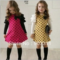 free shipping autumn wear girls' dress girls' dot long sleeves kids' autumn dress 2colors size 100-140