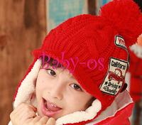2013 NEW Winter baby earflap cap Children Knitted Hats Winter crochet Hat with villi inner Kids Earflap Cap BOS.ZCW