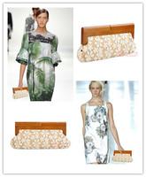 2013 New Designer White Bridal Lace Clutch Bag Wedding Clutch Bag Lace Evening Clutches For Women With Wood Handle Handbags bags