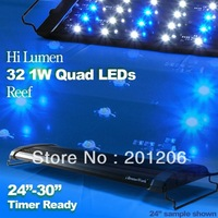 "LED Quad 24"" 1W Timer Aquarium Light Marine Reef FOWLR Cichlid 32X 1 Watt 60 cm"