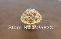 Free Shipping Golden Diamond Crystal Knobs Kitchen Cabinet Hardware Drawer Pulls Dresser Handles Jewelry Box Drawer Pulls