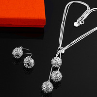 925 silver set-TSS25-AAA+++ lose Money Promotions charm 925 silver necklace+bracelet fashion jewelry set 925 silver jewelry set