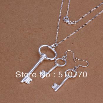 wholesale- Hotsell JS191 key pendant sterling silver 925 jewelry set Fashion silver jewelry set 925 silver set free shipping