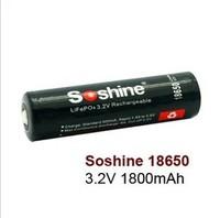 Soshine 18650 lithium iron phosphate battery with protection: 3.2 V 1800 mah