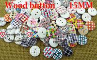 200PCS  15MM  WOOD buttons MIXED woollen KIDS button  BULK MCB-718