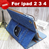 Freeshipping!hot sales New flip leather case for ipad 2 3 4 case PU wallet Design Leather Case for ipad 3 Jeans holster folding