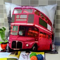 45*45 CM Zakka Vintage Bus Print Photograph Throw Cushion Cover Pillow Case for Sofa Bedding