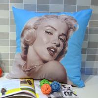 45* 45 CM Retro Vintage Marilyn Monroe Pop Art  Quality Peach Skin Fabric Throw Pillow Case Pillowcase for Sofa Bedding , Blue