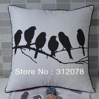 Peach Skin Fabric Fashion Bird Printed Sofa Cushion Cover -White, 45*45CM,