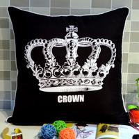 45*45 cm Modern Black and White Royal Crown Print  Microfiber  Fabric Throw Cushion Cover Pillow Case for Sofa