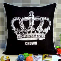 Free Shipping ! Black Peach Skin Fabric Crown Print Cushion Covers Throw Pillow Case for Sofa 45*45CM,