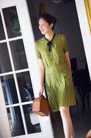 Yd842 exquisite vintage silk one-piece dress t