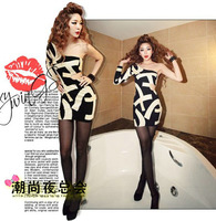 2012  New Womens shoulder Hollow Out slim fashion sexy strapless evening culb black white patchwork sexy letter print mini dress