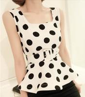 free shipping hot new 2013 fashion all-match loose slim ruffle sweep sleeveless chiffon shirt female t-shirt for women