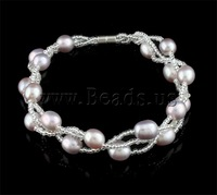 Free shipping!!!Freshwater Cultured Pearl Bracelet,Colorful Jewelry, Cultured Freshwater Pearl, purple, AAA, 7-8mm
