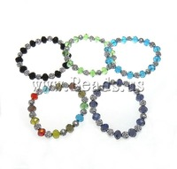 Free shipping!!!Crystal Bracelets,Lucky, with Resin, Rond, faceted, mixed colors, 10x7.5mm, 8x8x7mm, Length:prox 7 Inch