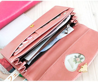 2013 new female Korean cute purse female long paragraph two fold wallet candy color peach heart-shaped bag 201306WB357