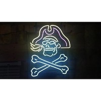 """Pirates Handcrafted Real Glass Tube Neon Light Sign beer bar 24"""" X 24"""""""