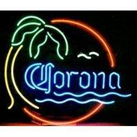 "Corona Palm Tree Sea Beer Bar Pub Handcrafted Real Glass Tube Neon Light Sign 24"" X 24"""