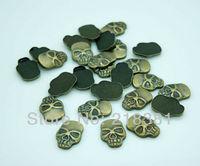 400pcs Antique Bronze Color metal Skull Iron On Hot Fix Nailhead for Garment/bags/shoes 8x11.5mm