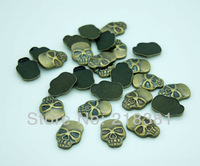 400pcs Antique Bronze Color metal Skull Iron On Hot Fix Nailhead for Garment/bags/shoes 8x11.5mm