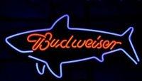 Budweiser Bud Light Shark Whale Beer Bar Handicrafted Real Glass Tube Neon Light Sign 24*24