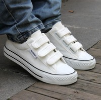 Free shipping Summer male women's classic white black velcro tape casual canvas shoes single shoes lovers