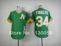 Free Shipping Cheap Men's Baseball Jerseys Oakland Athletics #34 Rollie Fingers Throwback Baseball Jersey,100% Stitched