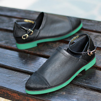 Spring and summer street style genuine leather horse hair flat casual single shoes women's low shoes black