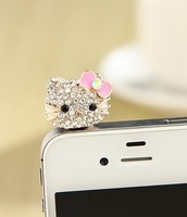 Mobile phone dust plug kt cat  full rhinestone  for iphone  4s dust plug 3.5mm plug earphones