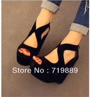 Brand sexy fashion women's genuine Platform high heels Wedges Buckle shoes + Free Shipping
