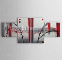 Hand-painted Framed Abstract Oil Painting On Canvas  - Set of 4 #00257776 home decor