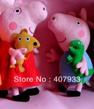 Peppa Pig With Teddy Bear George Pig  1pair 1pair=2pcs 12'' &10''Free Shipping  2013 Brand NewPlush Toy #1