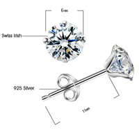 Wholesale Fashion Korean Crystal Bride Earrings 925 Silver Swiss Irish Ear Stud Earrings SK019