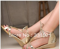 Free shipping 2013 women's sandals beaded bow metal color casual all-match fashion low-heeled formal