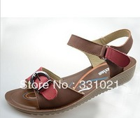Free shipping New arrival 2013 metal buckle color block decoration wedges sandals nubuck cowhide mother shoes comfortable