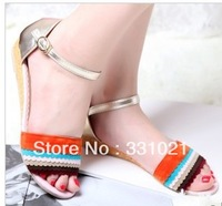 Free shipping  Female sandals flat low-heeled color block decoration metal hasp velvet soft and casual shoes gentlewomen