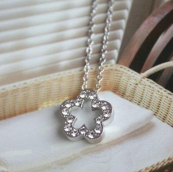 Five petal flower brief design elegant short female chain necklace fashion 18k platier